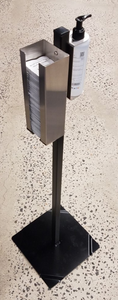 Black Powder-Coated Configurable Hand Sanitizer Stand