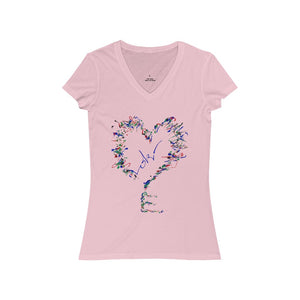 Heartkey Women's Jersey Short Sleeve V-Neck Tee
