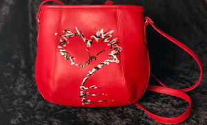 """Love Is Key"" One-of-a-kind 'Vegan Leather' Red Handbag"