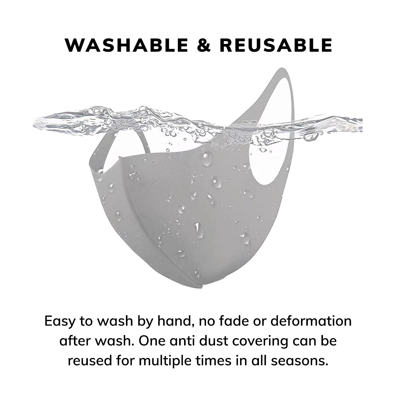 Reusable Fashion Stretch Protective Face Mask (Gray)