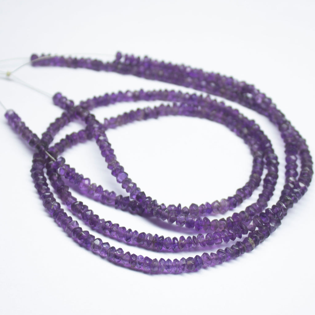 3-4mm Natural Amethyst Gemstone Rondelle Faceted Beads Beaded Jewelry Necklace