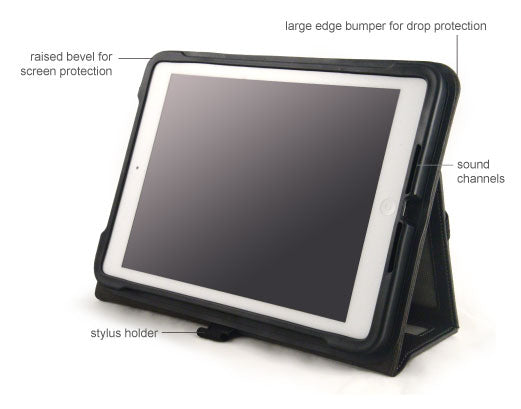 The protex air has a front facing sound channel and redirects sounds from the ipad's rear facing speaker.
