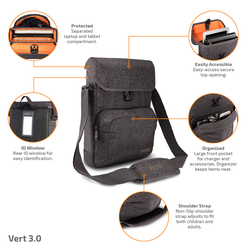 Vert 3.0 laptop bag keeps your laptop and tablet protected and easily accessible.