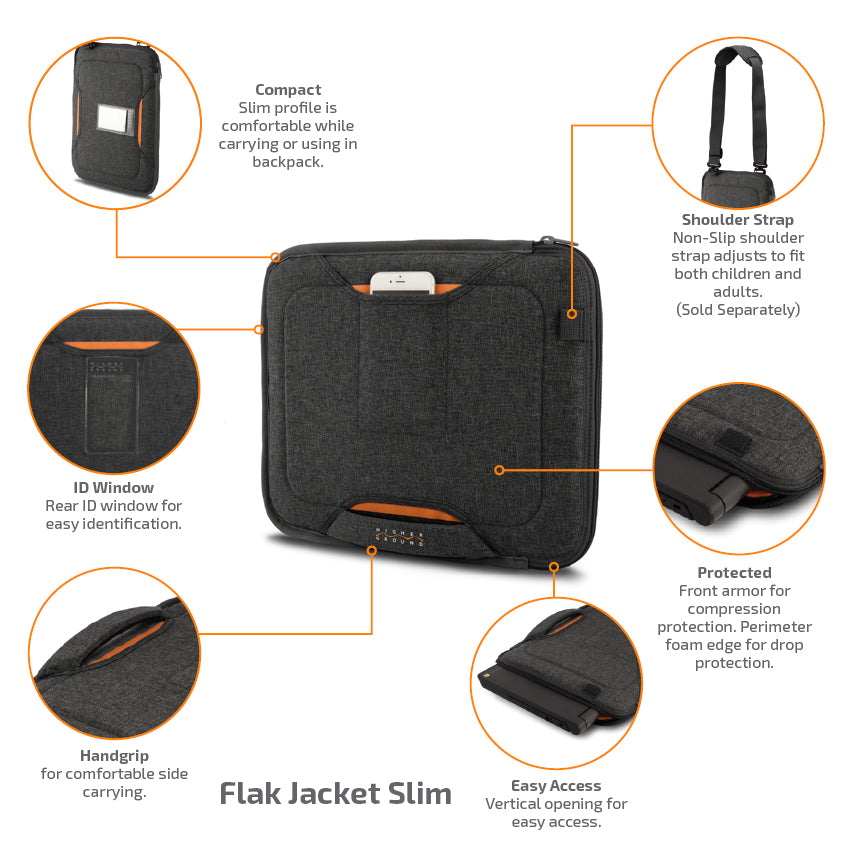 Flak Jacket Slim is compact with features such as a shoulder strap, id window, cell phone pocket and handgrip. Protective and easily accessible.
