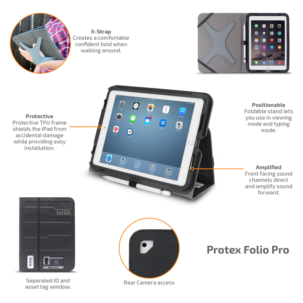 Protex Folio Pro  protects your tablet with features of an x strap so you can confidently hold your tablet.