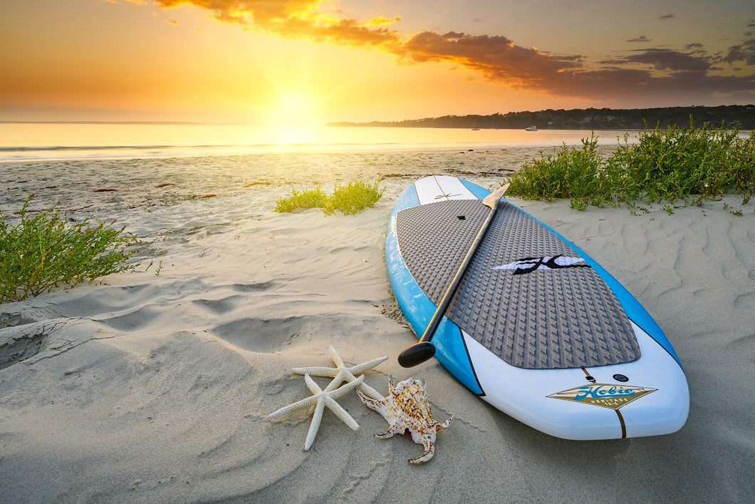 Hobie Heritage SUP On Beach At Sunrise