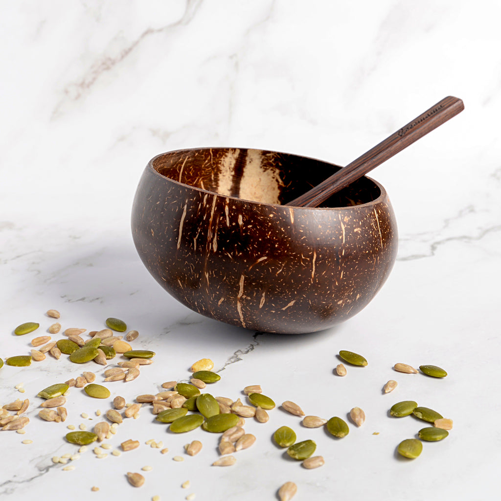Coconut Bowl + Wooden Spoon