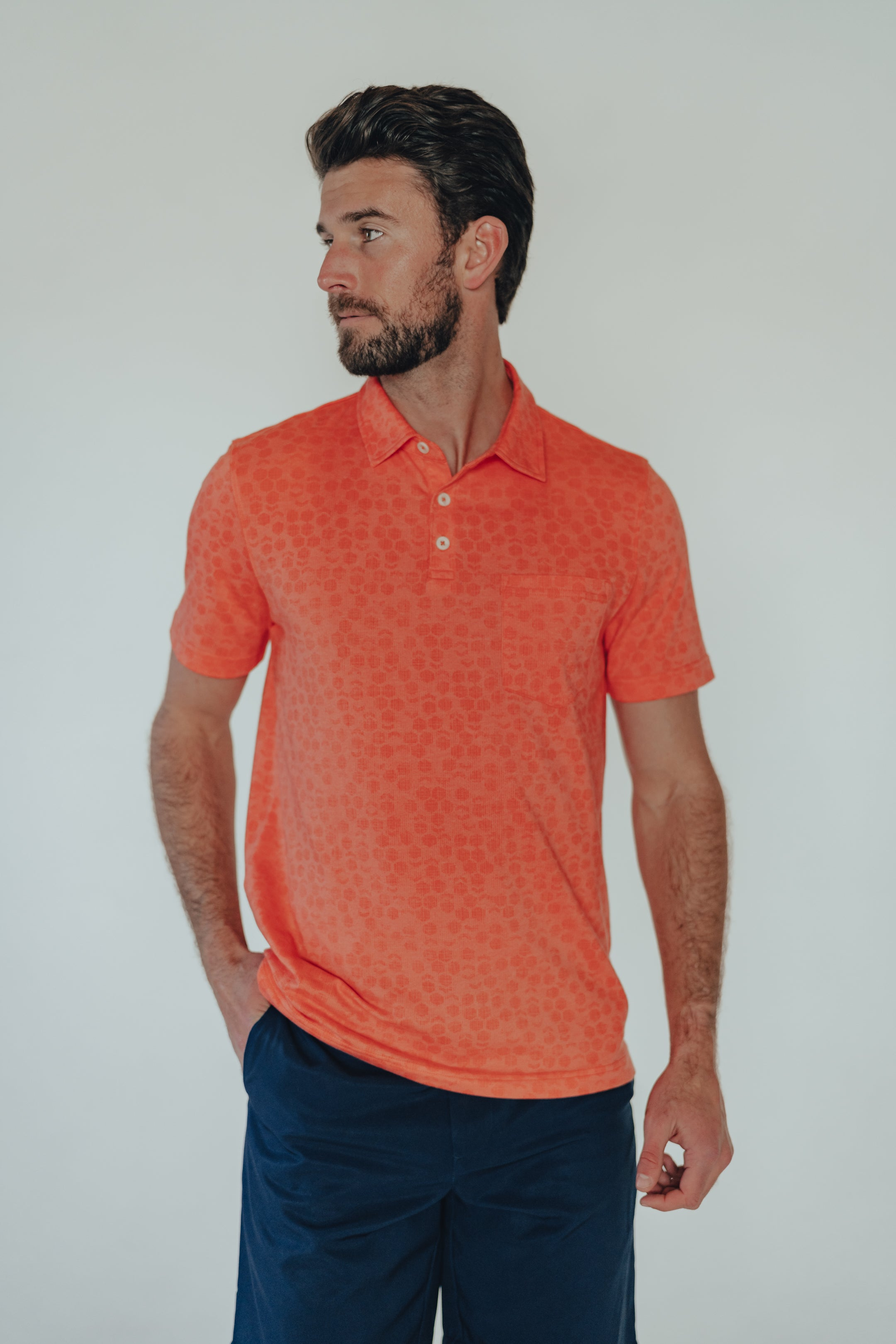 THE NORMAL BRAND ACTIVE PUREMESO GEO PRINT POLO