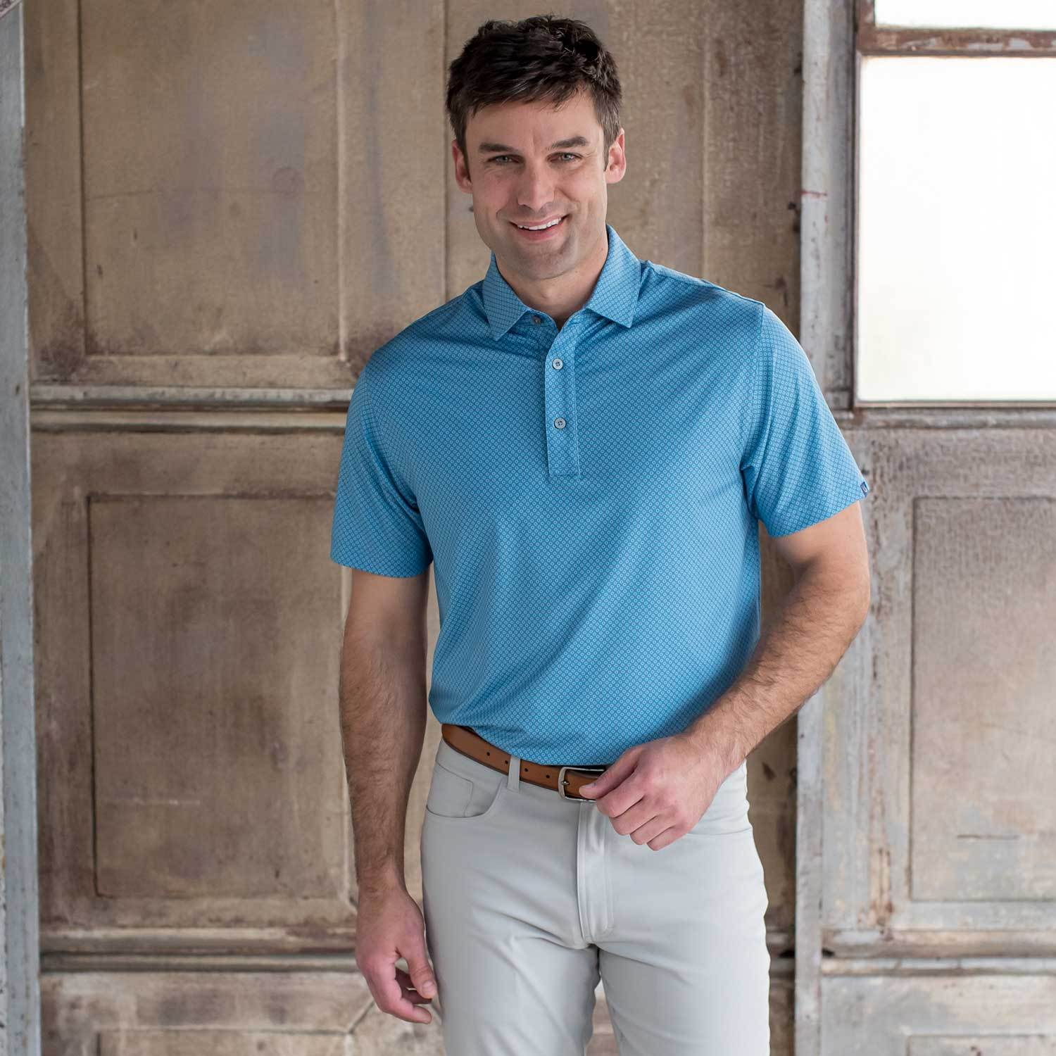 OXFORD SANFORD PERFORMANCE PRINTED JERSEY POLO