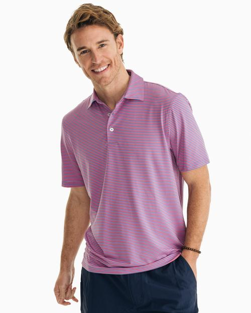 SOUTHERN TIDE MICRO STRIPE PERFORMANCE POLO