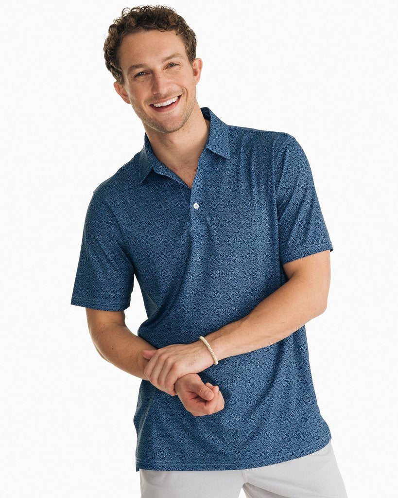 SOUTHERN TIDE FISH PRINT DRIVER PERFORMANCE POLO SHIRT