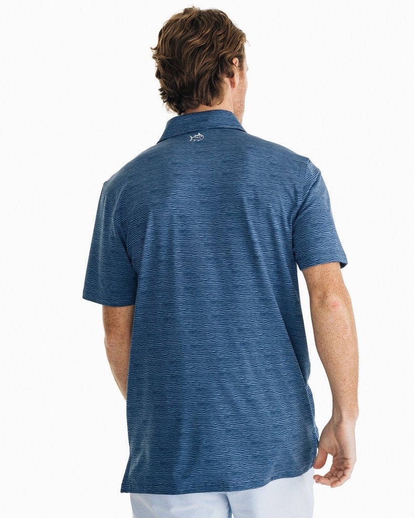SOUTHERN TIDE WAVE PRINT DRIVER PERFORMANCE POLO SHIRT