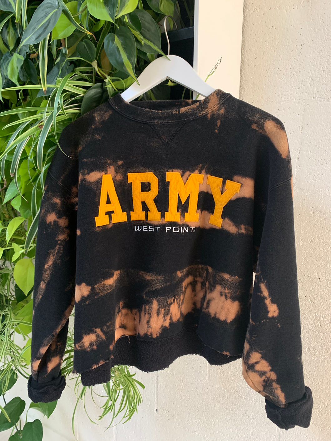 Upcycled Cropped Army Sweatshirt