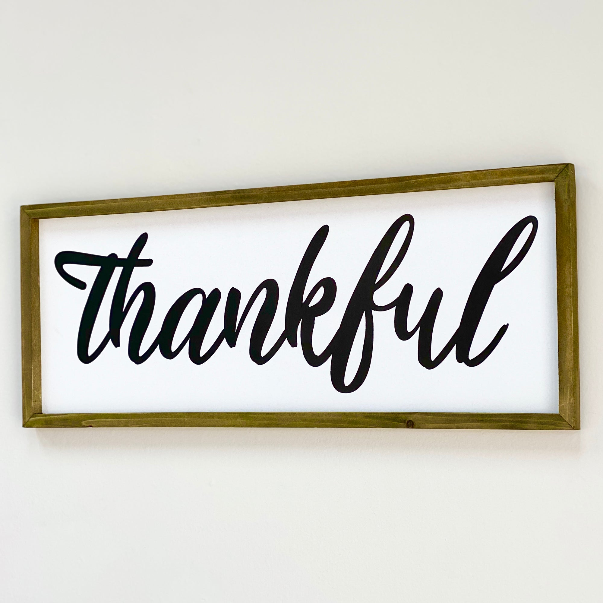 "Wood Wall Art Cursive ""Thankful"""