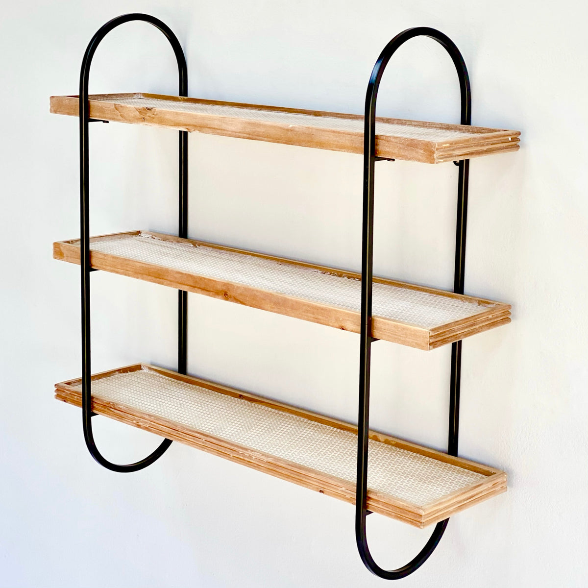 3-Tier Wood and Metal Wall Shelf