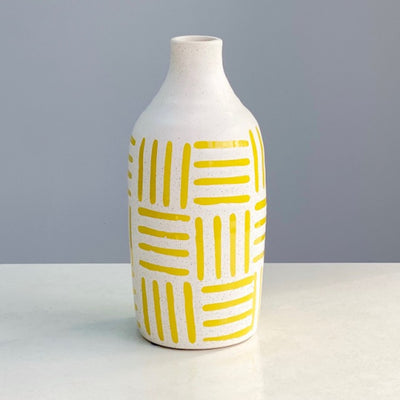 Large French Yellow Ceramic Vase
