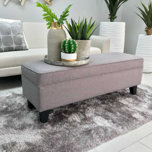 Indira Rectangular Gray Fabric Bench