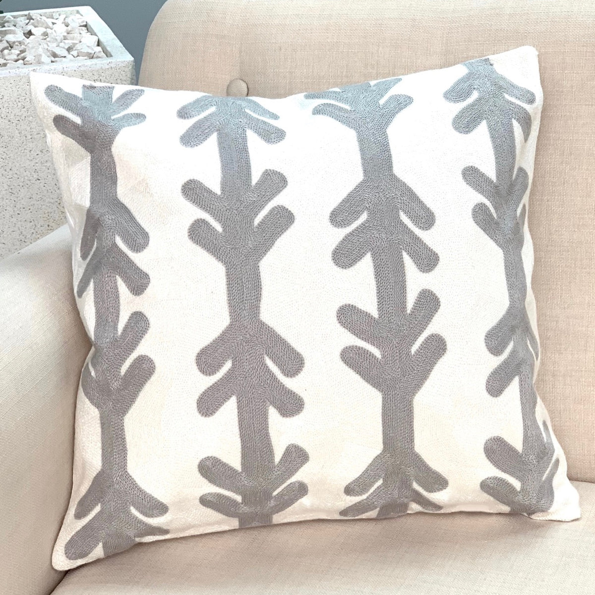 Embroidered Gray Arrow Pillow