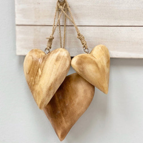 Set of Three Wood Heart