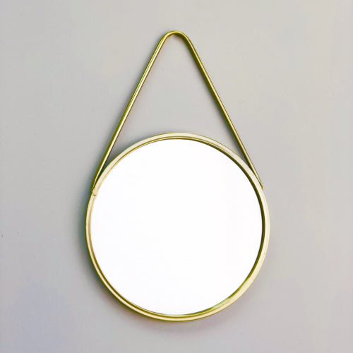 Gorka Metallic Round Golden Mirror