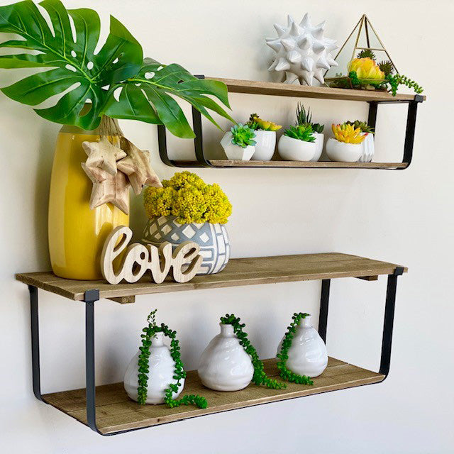 Wood Rectangular Wall Set Shelf