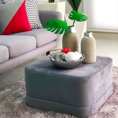 Gray Stylish Square Velvet Catalina Ottoman