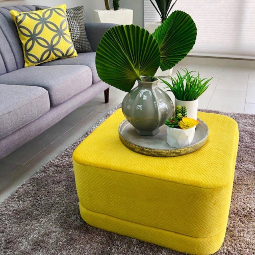 Yellow Stylish Square Velvet Catalina Ottoman