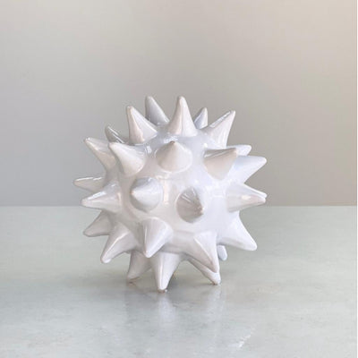 Small Ceramic White Round Urchin