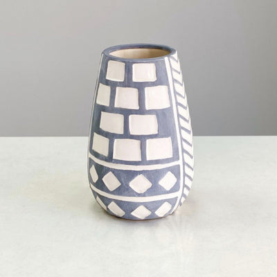 Large Selenium  Blue Ceramic Vase