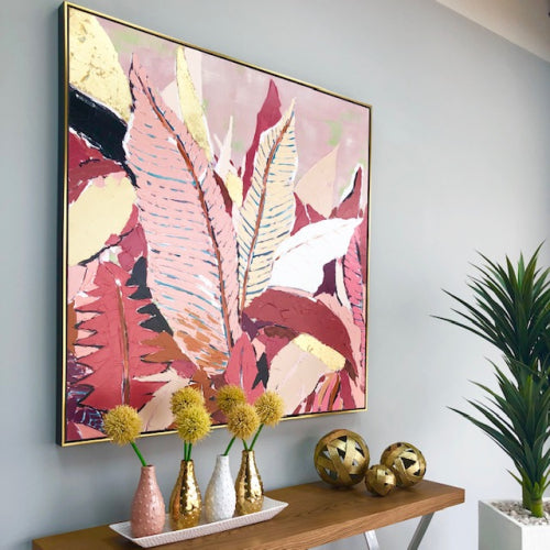 Pop Pink Tropical Leaf Art