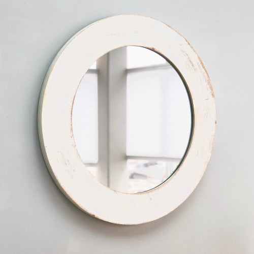 Tirso Rustic White Wooden Mirror