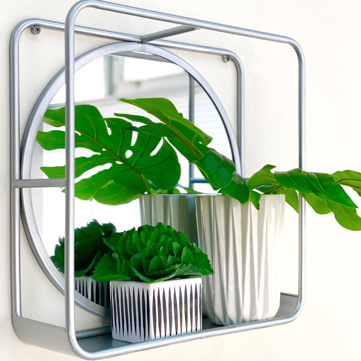 Deco Silver Metal Shelf Mirror
