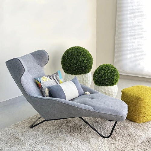 Aurora Luxury Gray Fabric Chaise