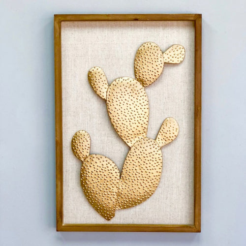 Golden Cactus Metallic Wall Art
