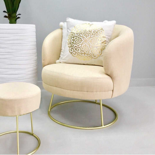 Alicia Stylish Ivory Fabric Chair