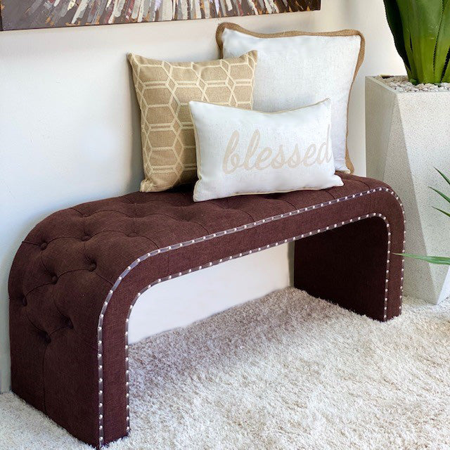 Victoria Rectangular Brown Fabric Bench