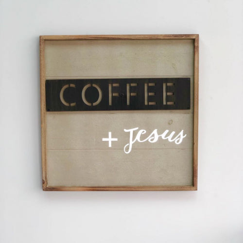 """Coffee + Jesus"" Wooden & Metallic Art"