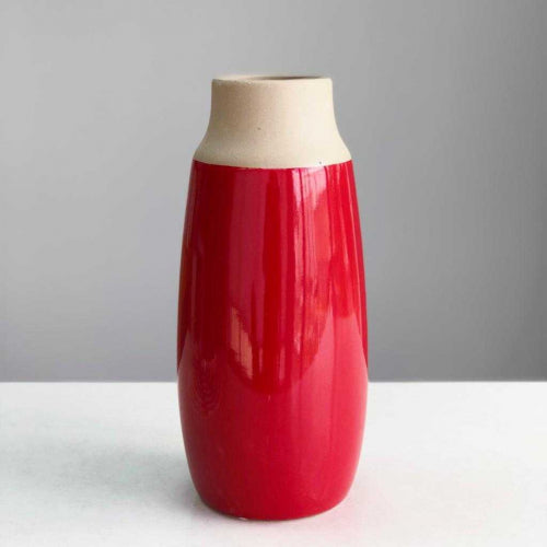 Large Round Red Ceramic Vase