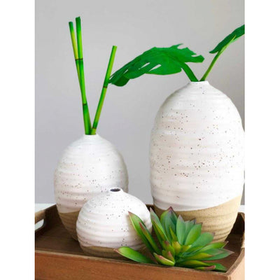 Medium Round White Ceramic Vase