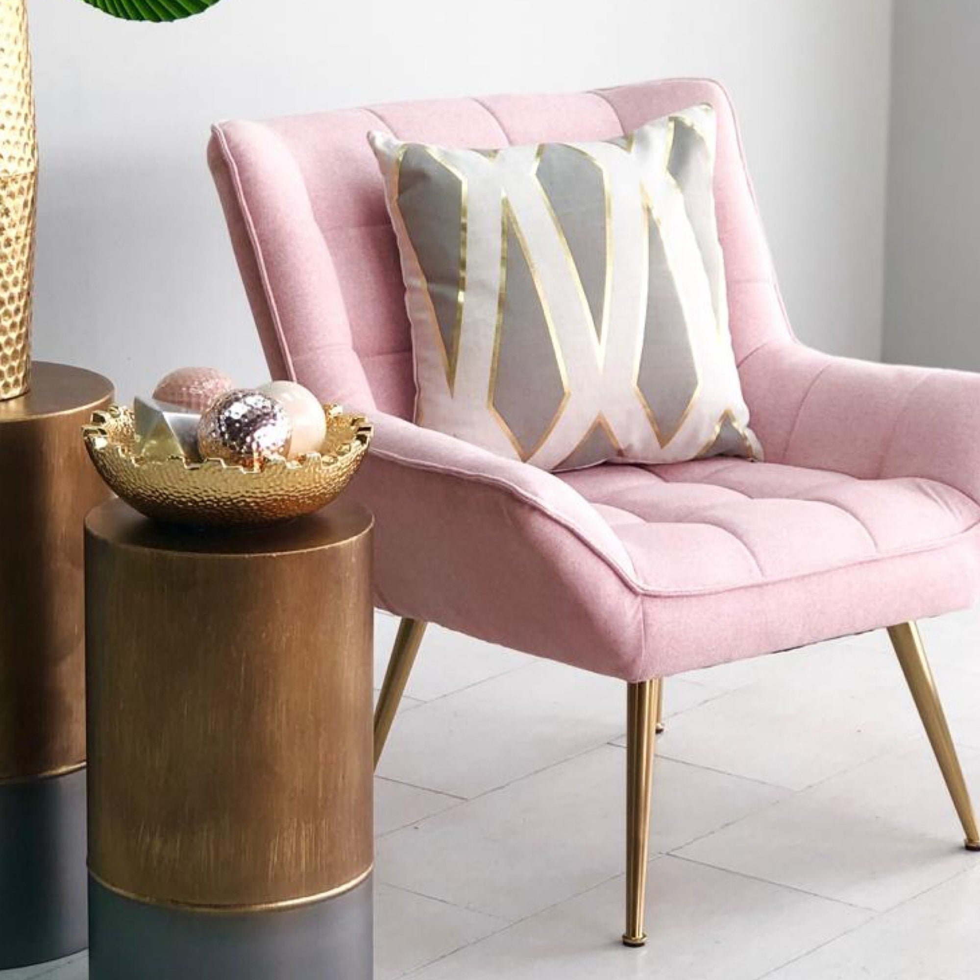 Pigeon Pink Golden Legs Chair