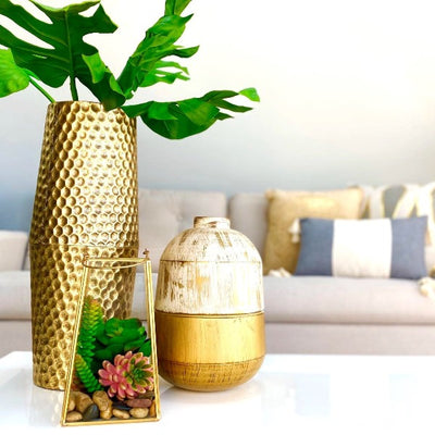 Round Golden Embossed Metallic Vase