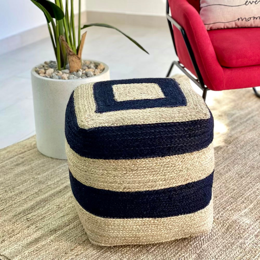 Jute and Coconut Wide Black Stripes Ottoman