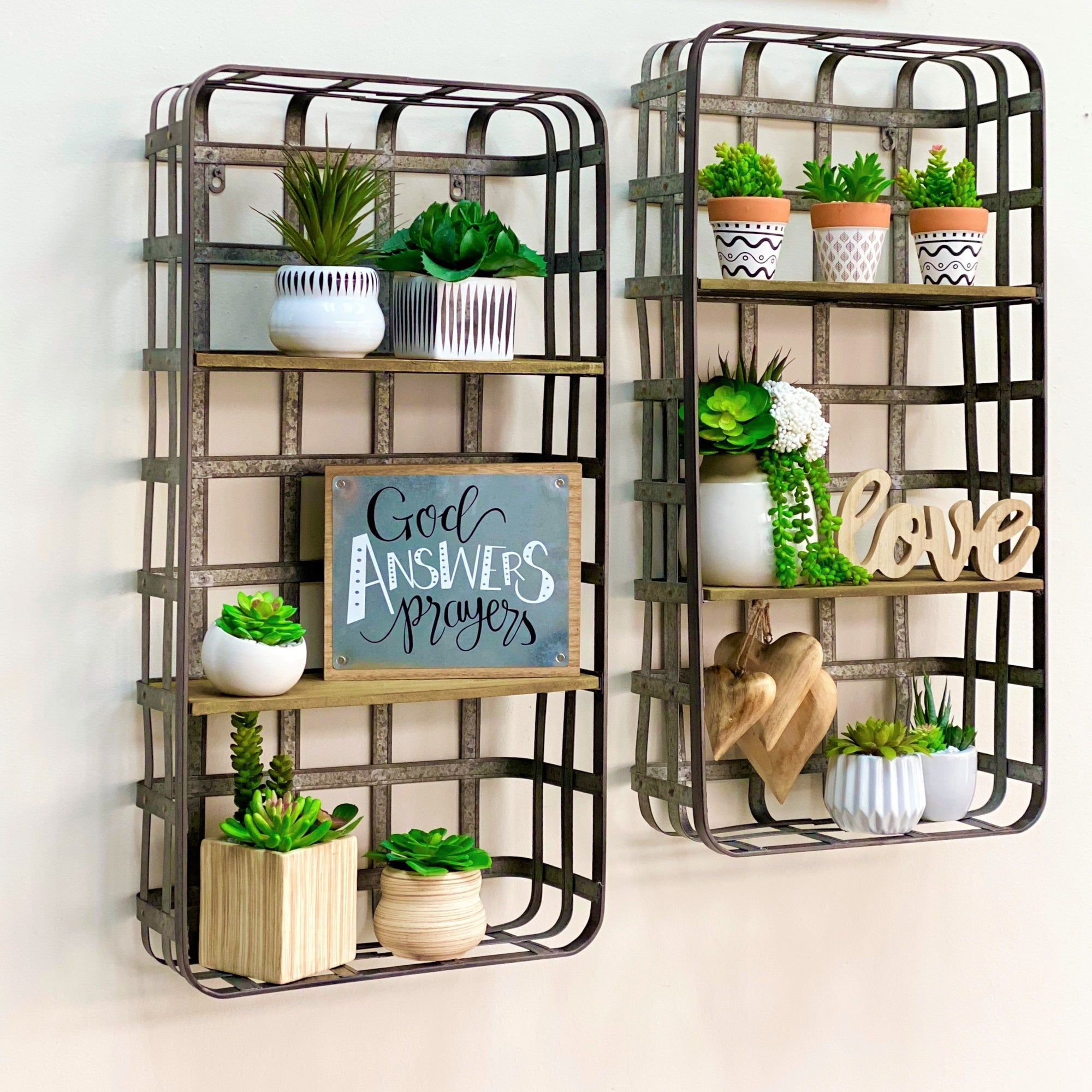 Metal Wall Shelf  Wooden Tier