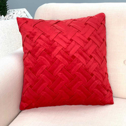 Braided Velvet Red Pillow
