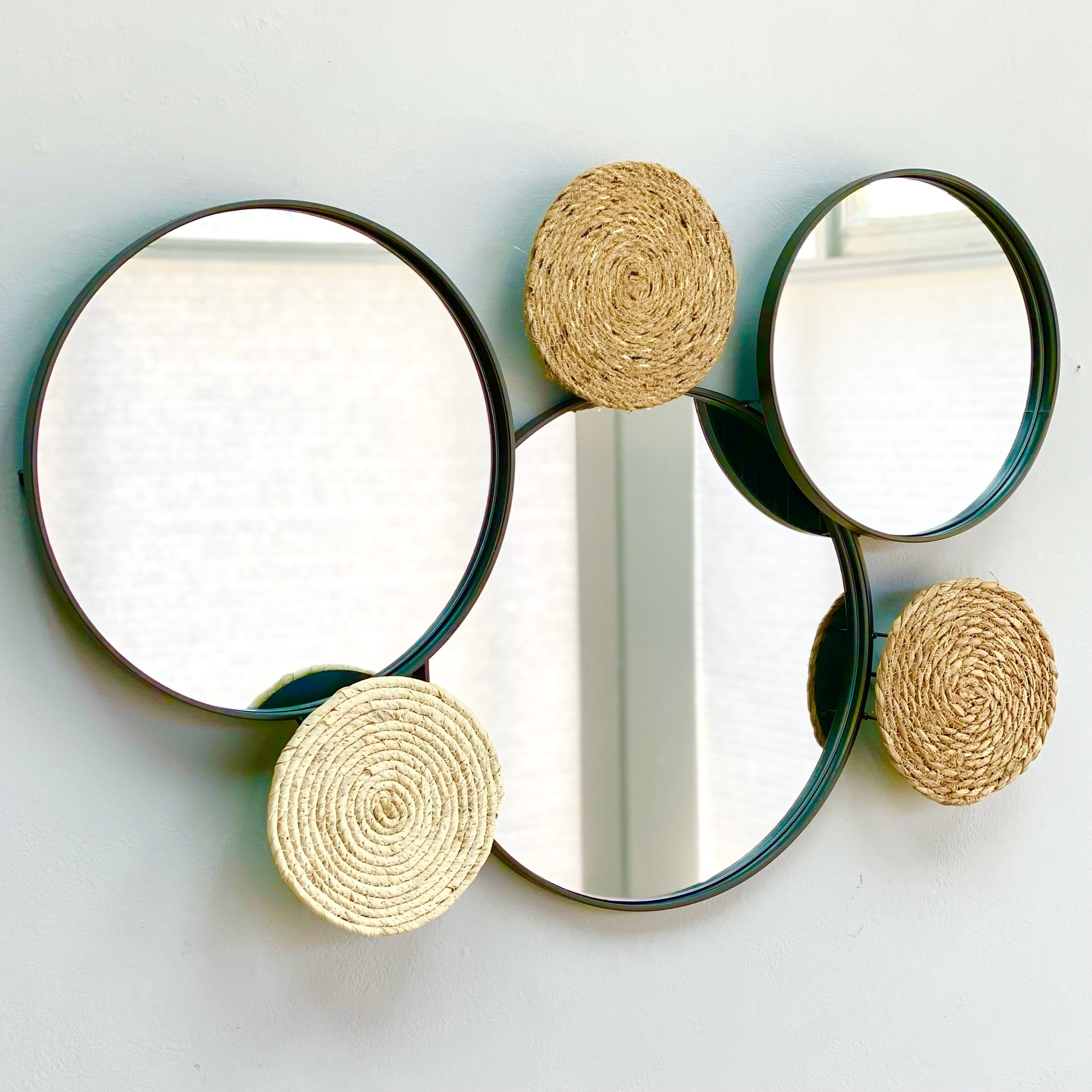 Mirror and Rattan Mix Wall Deco