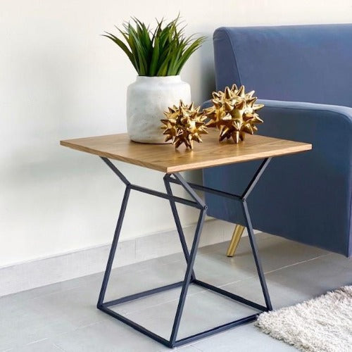 Square Walnut Wooden End Table
