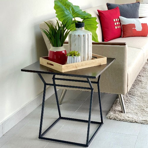Square Wengue Wooden End Table
