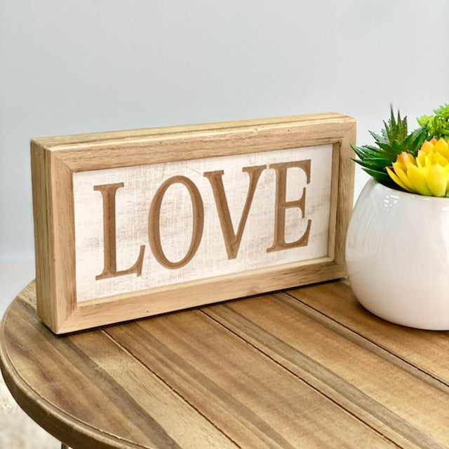Love Wood Carved Table Top Sign