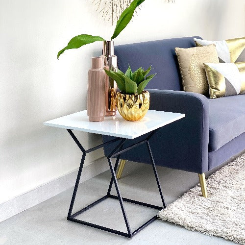 Square White Wooden End Table