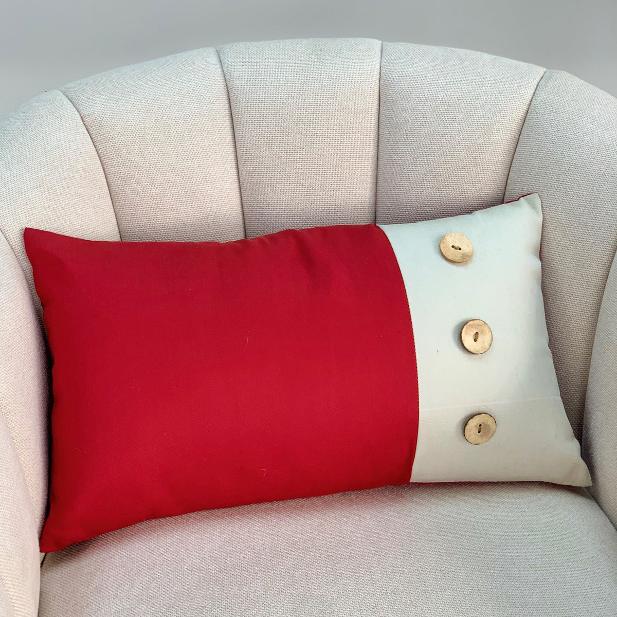 Wood Buttons Red Long Pillow